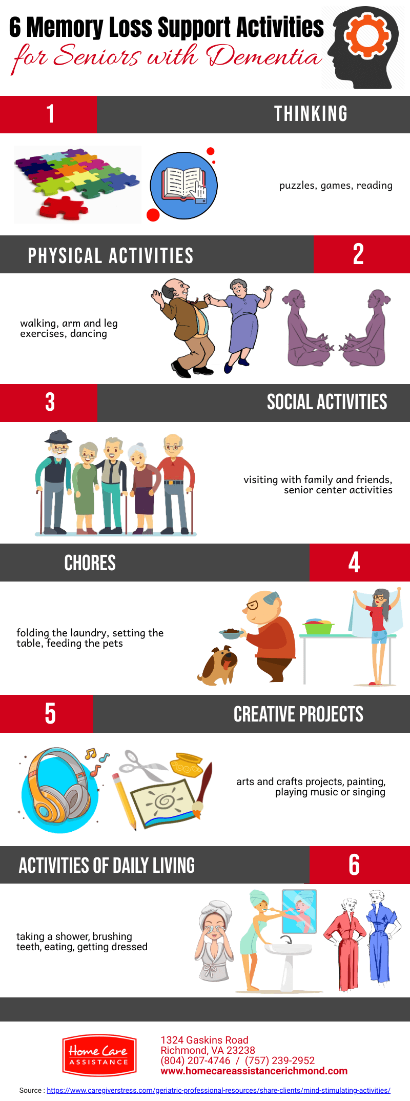 6 Memory Loss Support Activities for Dementia [Infographic]